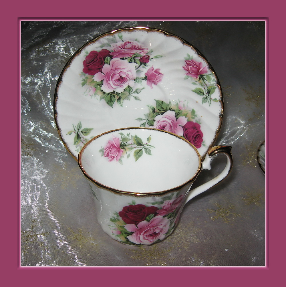 2 tasses porcelaine anglaise decor bouquets de roses ebay for Decoration anglaise