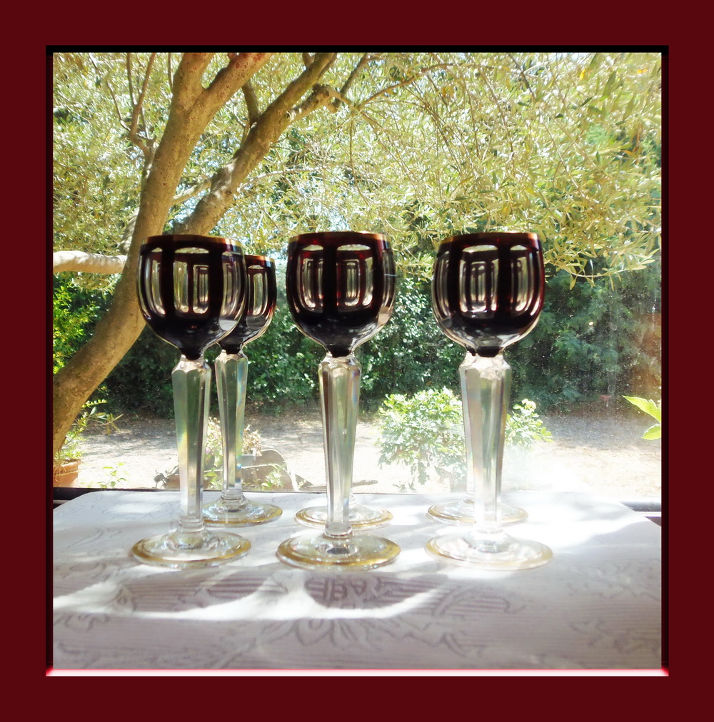 6 sublimes verres a liqueur en cristal overlay art deco ebay. Black Bedroom Furniture Sets. Home Design Ideas